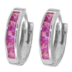 14k White Gold Pink Topaz Huggie Earrings Jewelry