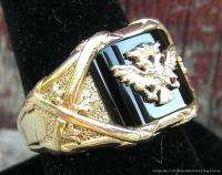 Mens 14k Yellow Gold Diamond Ring Double Headed Eagle w Navy Blue