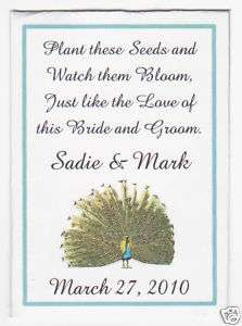Personalized Custom Peacock Feathers Wedding Seed Packets Favors Bird
