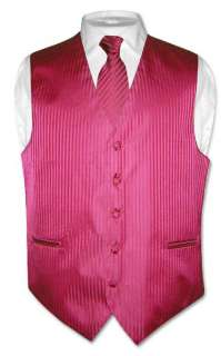 Brand New HOT PINK / FUSCHIA Color Striped Dress Vest, Neck Tie, and