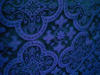 ROYAL BLUE CROSS VESTMENT RENAISSANCE BROCADE FABRIC