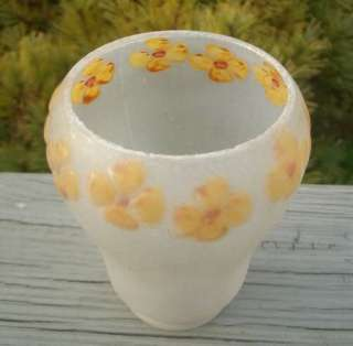 OLD REVERSE PAINTED SATIN GLASS LAMP FLOWER SHADE GLOBE