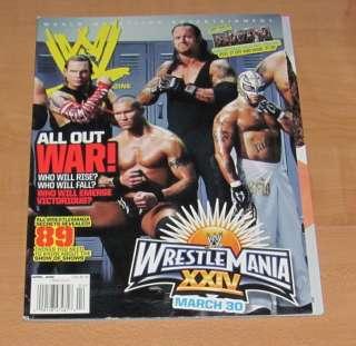 wwf APRIL 2008 WWE MAGAZINE wrestling WRESTLEMANIA 24 UNDERTAKER ORTON