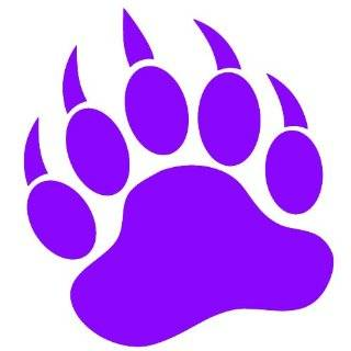 GRIZZLY BEAR PAW PRINT   Vinyl Decal Sticker 5 PURPLE