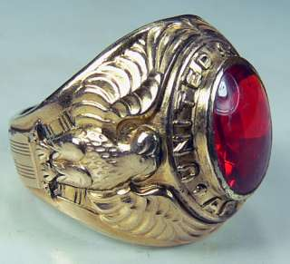 Army, United States Military 10K Gold Filled Ring, Red Stone, Size 8