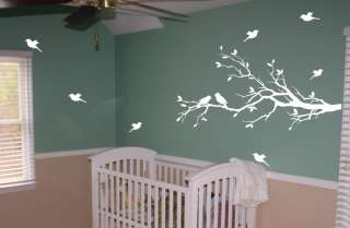 Tree Branch with 10 birds Nursery Wall Decal Deco Art Sticker Mural