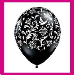BLACK WHITE PRINT damask party balloons latex WEDDING