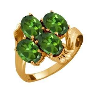 3.40 Ct Oval Green Tourmaline 10k Yellow Gold Ring Jewelry