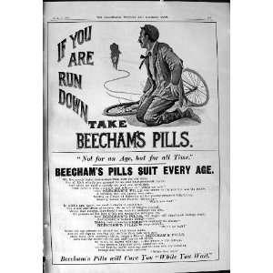 Beechams Pills Man Broken Bicycle Antique Print